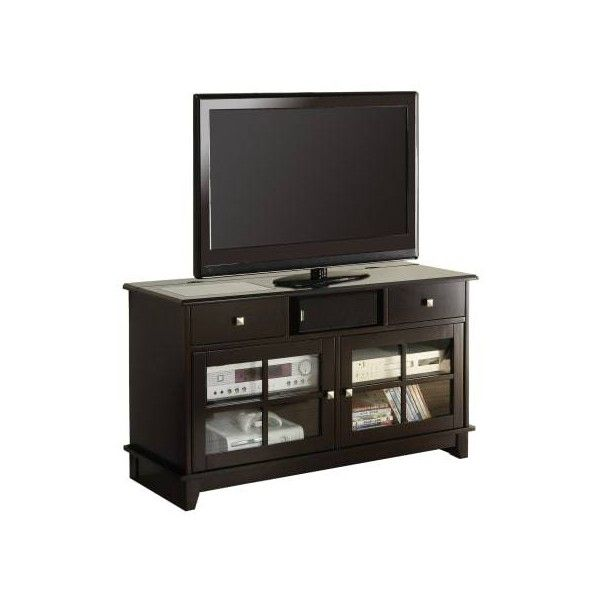 Monarch Specialties I 3545 48 Inch x 18 Inch Wood TV Stand Espresso ($422) ❤ liked on Polyvore featuring home, furniture, storage & shelves, entertainment units, entertainment, espresso, indoor furniture, tv stand, wood tv stand and wooden storage shelves