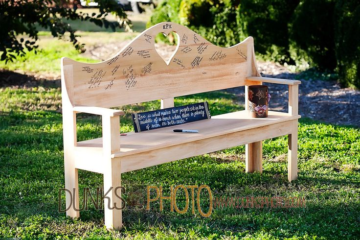 "Wedding ""love bench""; handmade for signatures by groom.... My cousin's wedding, such a wonderful alternative to a guest book!! :)"