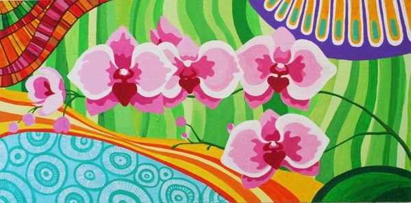 Flowers - 2013 - Acrylic on canvas by Anita Romeo, via Behance