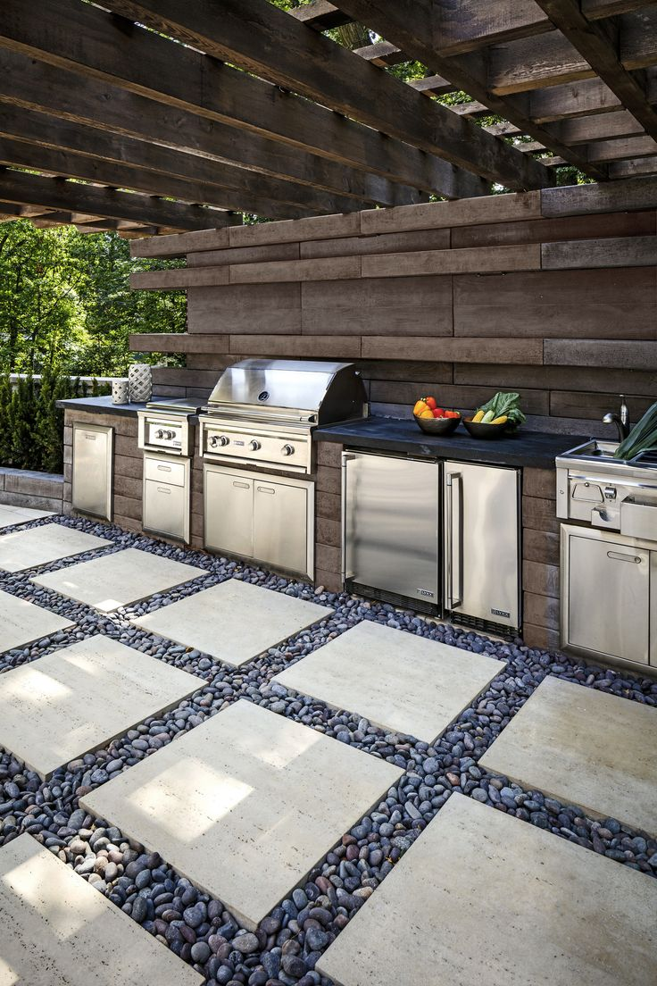 Modern Rustic Backyard Inspiration Wood design accents, brushed metal, stone fire pit