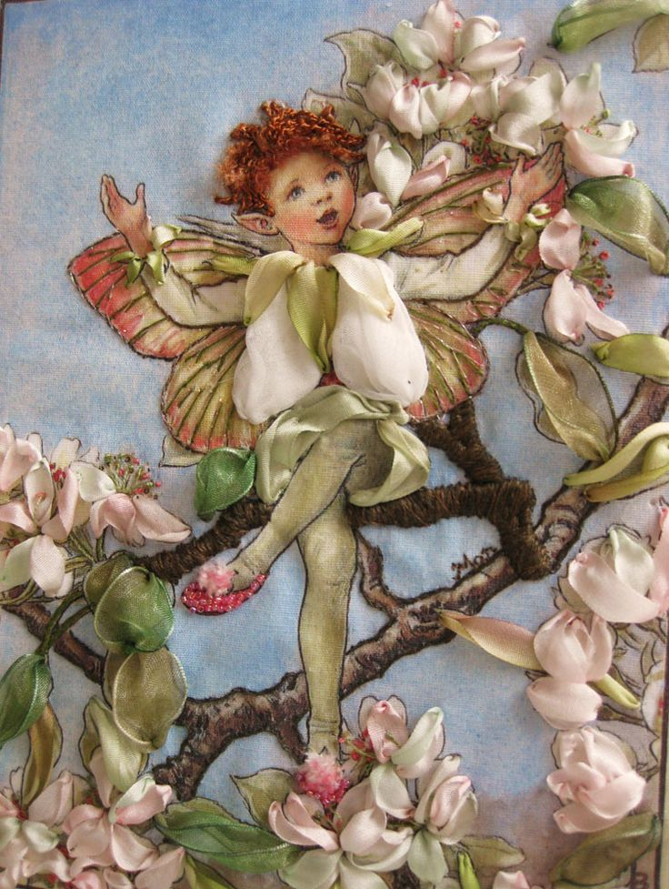 The Pear Blossom Fairy from Cicely Mary Barker's Flower Fairies, embroidered