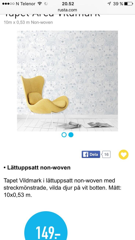 Tapet från Rusta Antons nya rum Pinterest