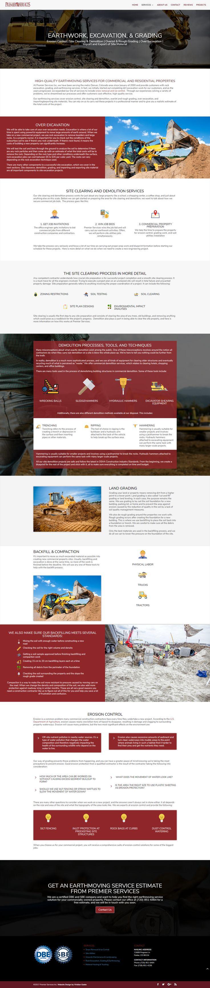 Viridian Geeks web design for Premier Services, Inc's excavation service page.
