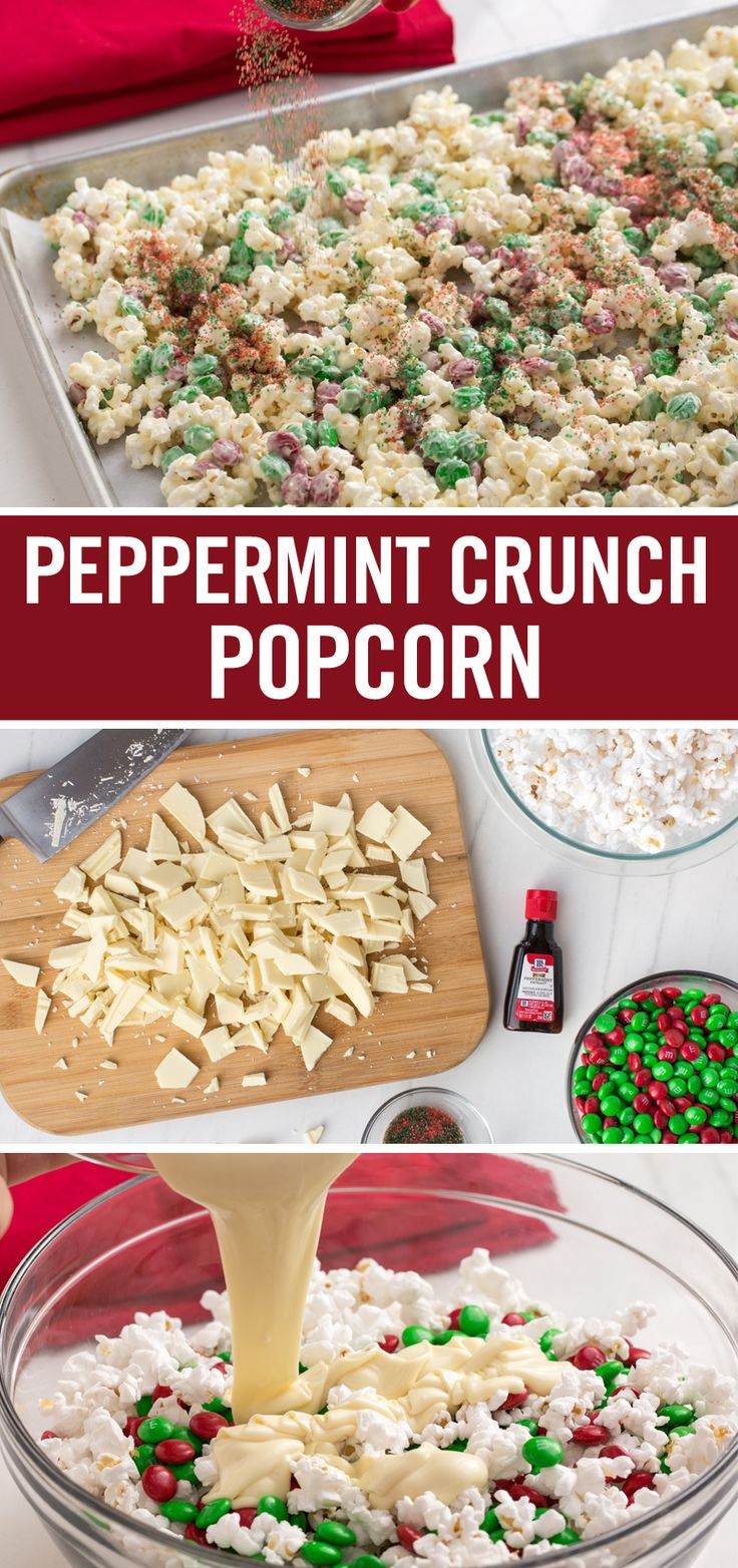 Edible gifts make the best of gifts, like this Peppermint Crunch Popcorn recipe. Mix popped popcorn with candy-coated chocolate pieces and a decadent mix of peppermint extract-flavored white chocolate. Top it all off with red and green sprinkles, let the chocolate harden – give as a holiday gift or serve at this year's Christmas party.