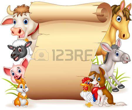 illustration of Cartoon funny farm animals with blank sign
