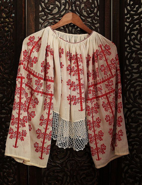 antique ethnic red cross stitch embroidered by silkroaddream #romanian #ia #blouse #romania #folk #folkart #folklore #dorderomanesc  #tradition #motifs #art