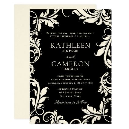 Majestic Leaves Invitation Template | Black & Ecru - black and white gifts unique special b&w style
