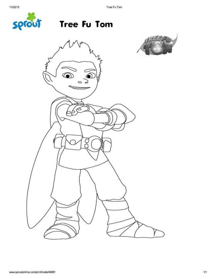 free coloring page of Tree Fu Tom I was selected for this opportunity as a member of #CleverGirls #SproutMerryThon