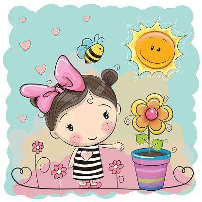 Cartoon Girl on the meadow with flowers - ilustração de arte em vetor