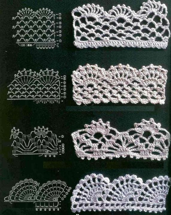 4 Beautiful crochet edgings.