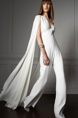 12 Styling Tips For The Alternative Bride #refinery29  http://www.refinery29.com/wedding-styling-tips#slide-12  Consider A Jumpsuit (Really!) — When you're standing still, a jumpsuit's got the exact same silhouette as a gown. But, move a step, and you're really mixing things up. It's a dramatic, brave sartorial decision with huge payoffs. Even if you don't go for it, at least try one on!