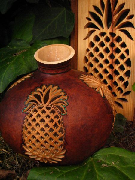 Carved and painted Pineapple gourd...Randy Storm