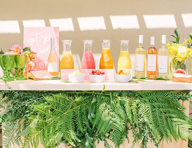 Pink yellow tropical bridal shower brunch tropical for Dekoideen sideboard