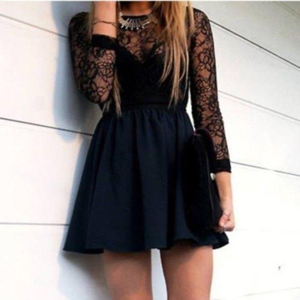 Dress: lace dress, little black dress, cute dress, prom dress ...
