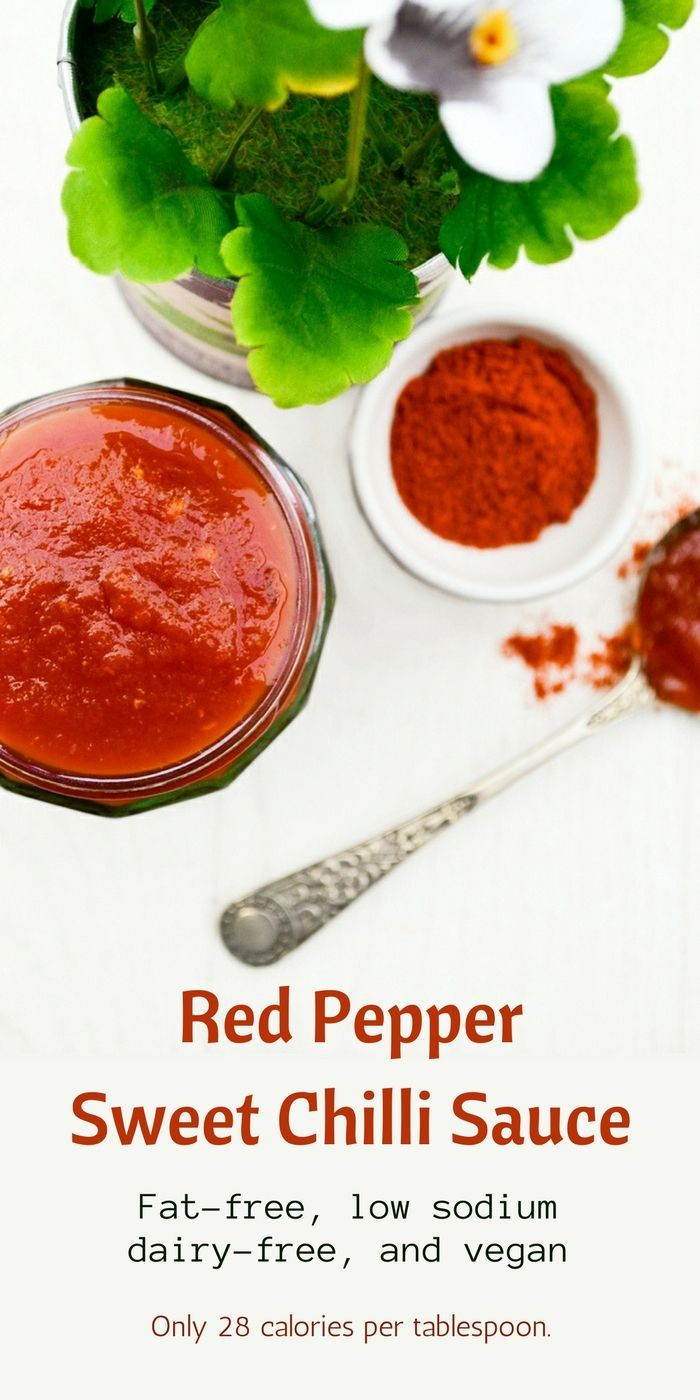 A simple red pepper sweet chilli sauce that has so many uses including a topping for veggie burgers, a drizzle for salad wraps and a marinade for tofu. Sweet, smoky and delicious! It's fat-free, very low in sodium and a good source of Vitamin A & C. Only 28 calories per tablespoon.