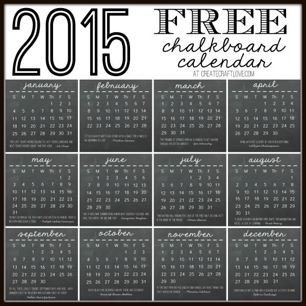 2015 FREE Chalkboard Calendar Printable available at createcraftlove.com