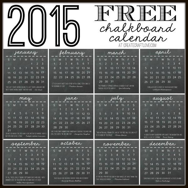 2015 Chalkboard Calendar Printable | Create Craft Love