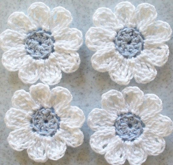 Small Crochet Flowers White Bridal Blue by IreneStitches on Etsy