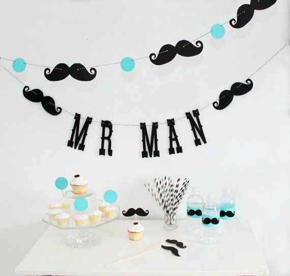 Mr. Man Birthday Garland. Boy Party. Little Man by LittleRetreats