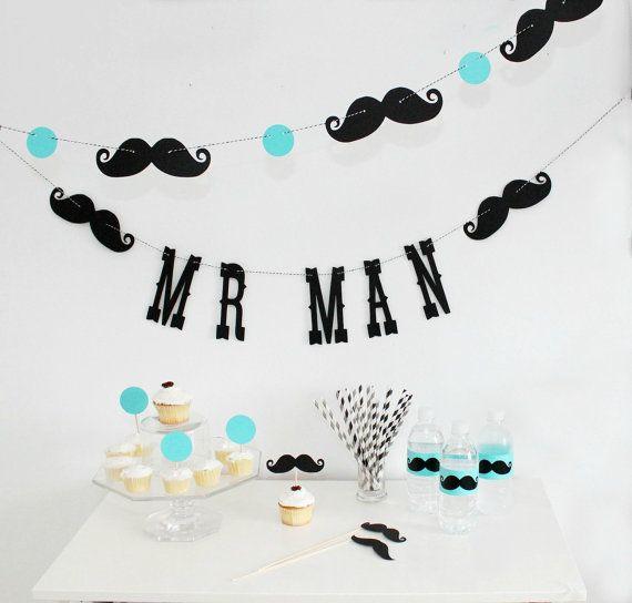 Mr. Man Birthday Garland. Boy Party. Little Man Bash