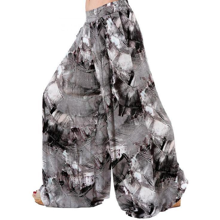 ALE Γυναικείο εμπριμέ ψιλοκάβαλο παντελόνι βράκα