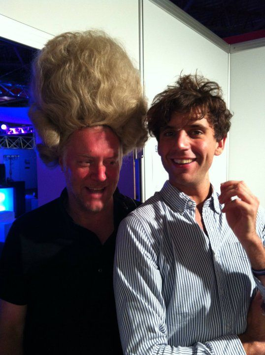 Mika and a guy in a wig