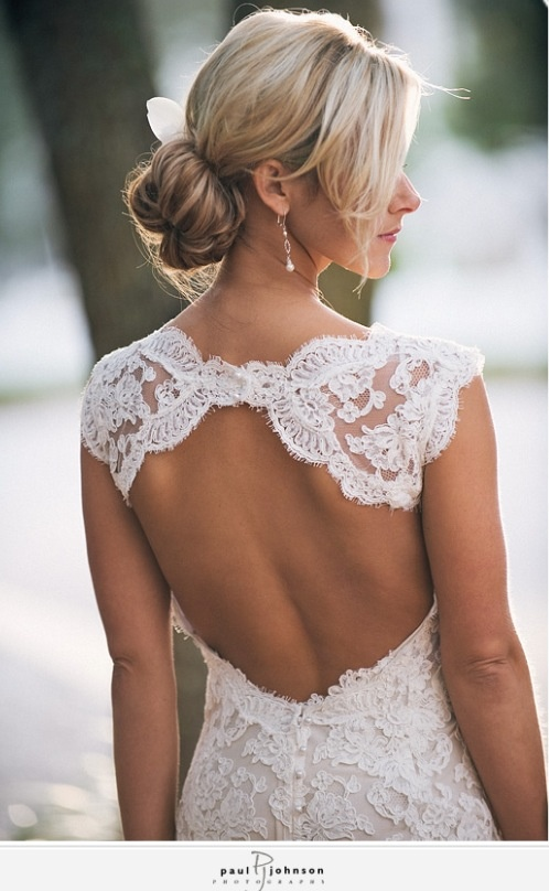 So we have keyhole back with lace. What's the skirt look like? Ball gown, sheath, trumpet, mermaid?