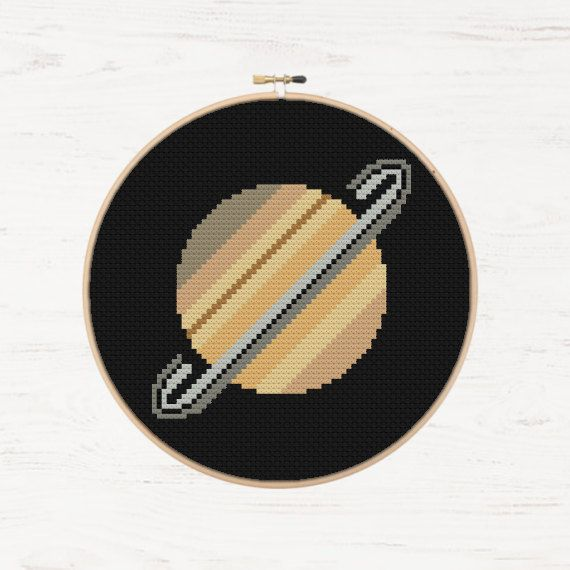 Saturn Cross Stitch Planets Pattern Modern Cross par Stitchonomy