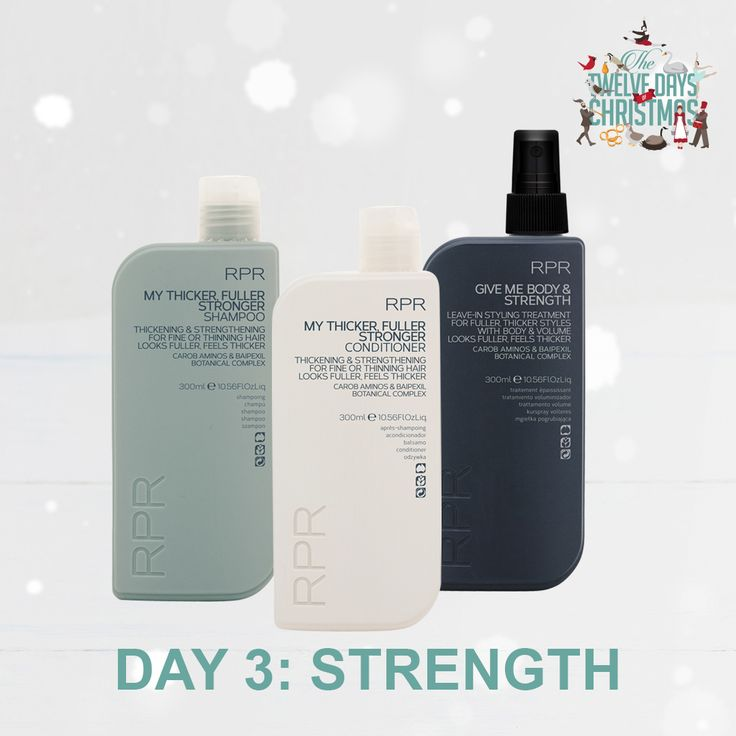 DAY 3: STRENGTH. Give me strength this Christmas season... with our RPR strengthening range. Perfect for fine or thinning hair. Hair will look fuller and thicker.
