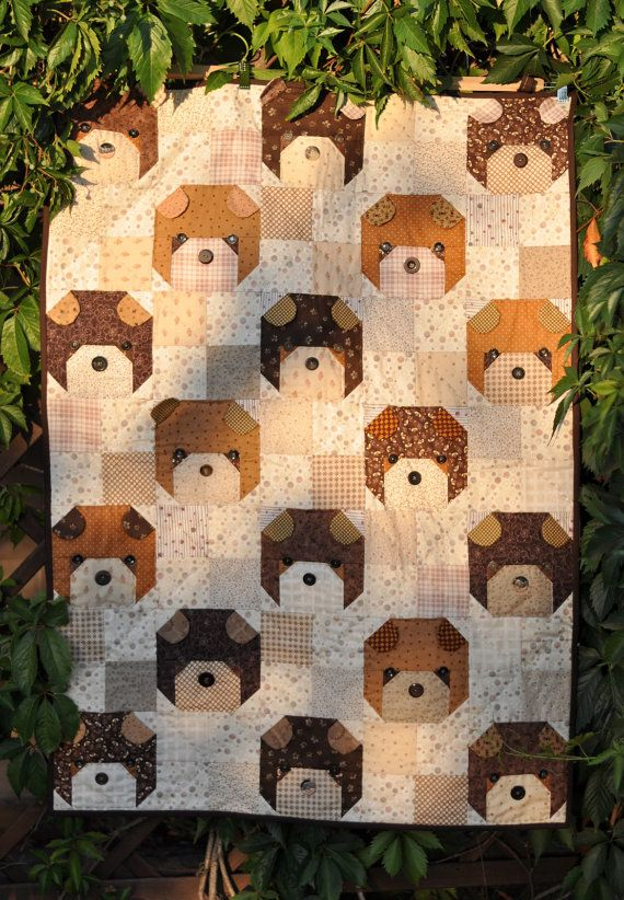 Quilt for sale Teddy Bear quilt patchwork baby toddler by Quiltowo