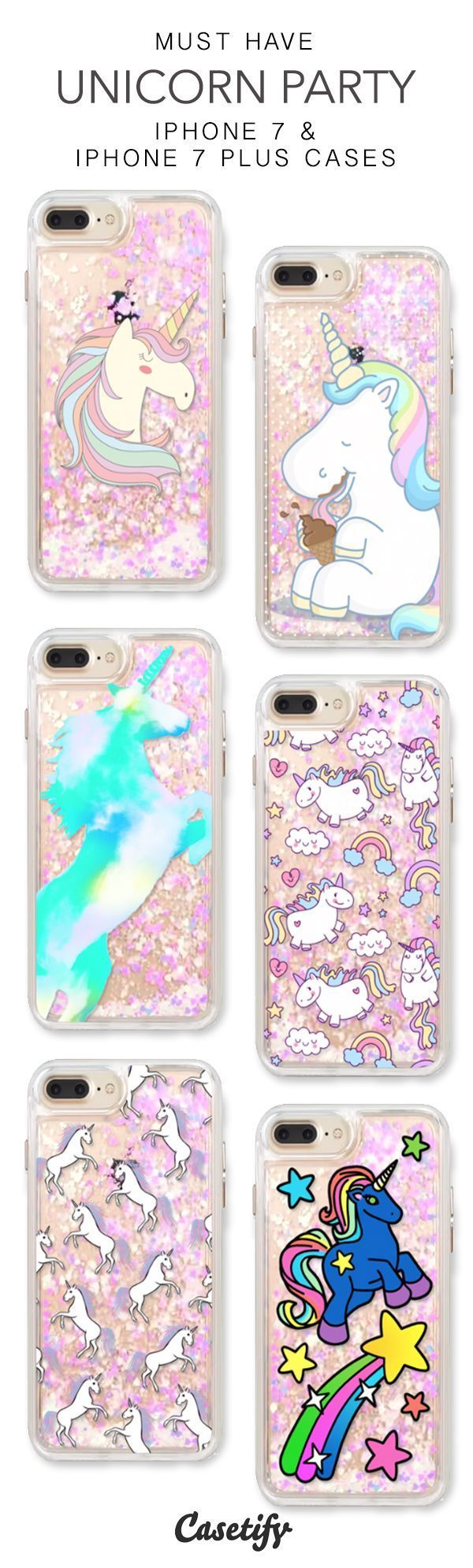 Must Have Unicorn Party iPhone 7 Cases & iPhone 7 Plus Cases. More protective liquid glitter iPhone case here > https://www.casetify.com/en_US/collections/iphone-7-glitter-cases#/?vc=USN8VMeama #Iphone #iphone7case,