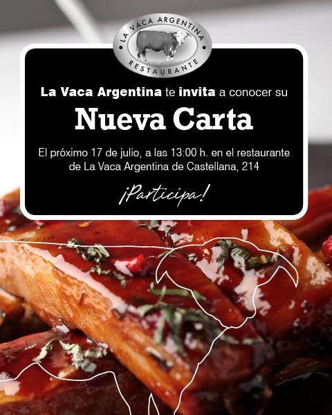 La Vaca Argentina te invita a comer, conocer nuestra nueva carta ¡Participa!