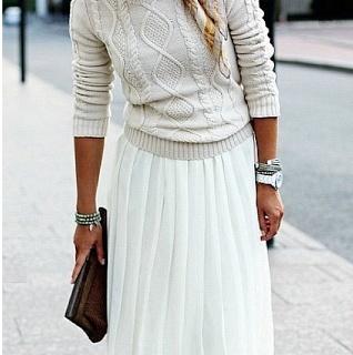 Beige sweater + white maxi skirt