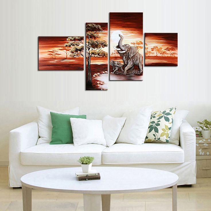 Ministry of Shop: Quadri con elefanti al tramonto dipinti a mano olio su tela (SJXD11) € 29,28