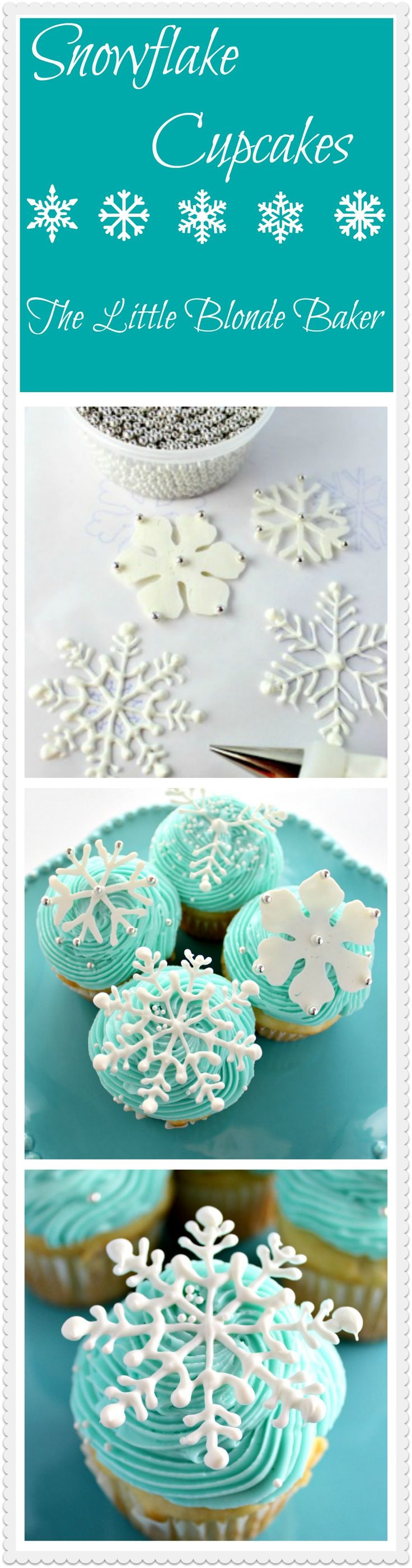 Snowflake Cupcakes elegant and unique. Easy to make with white chocolate and a pastry bag. Let your creativity come out to make these beautiful cupcakes.