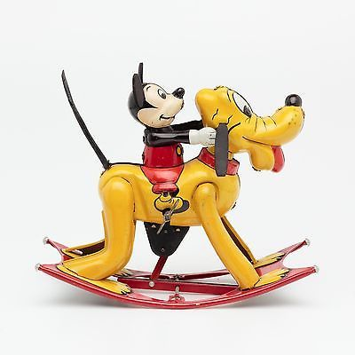 Extrmemely RARE Japan Linemar Tin Litho Wind Up Mickey Mouse Pluto Rocker Toy