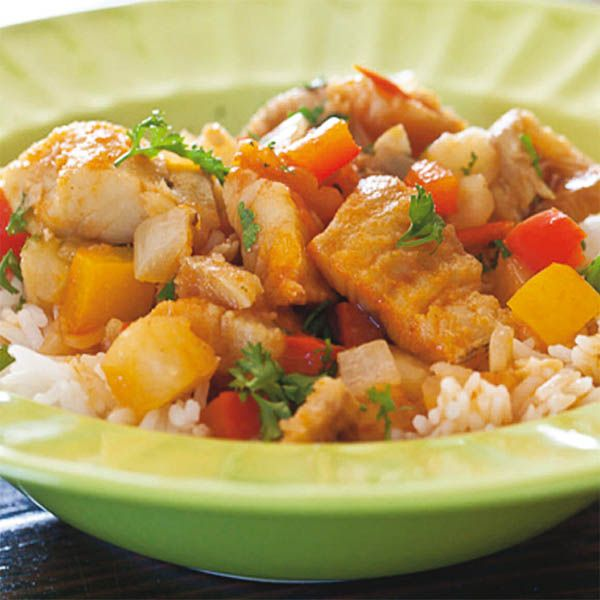 Baccalà con salsa shoyu dolce, riso e verdure.