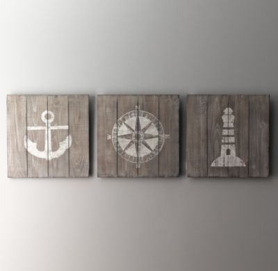 Wood-Plank Nautical Art | Wall Art | Restoration Hardware Baby & Child
