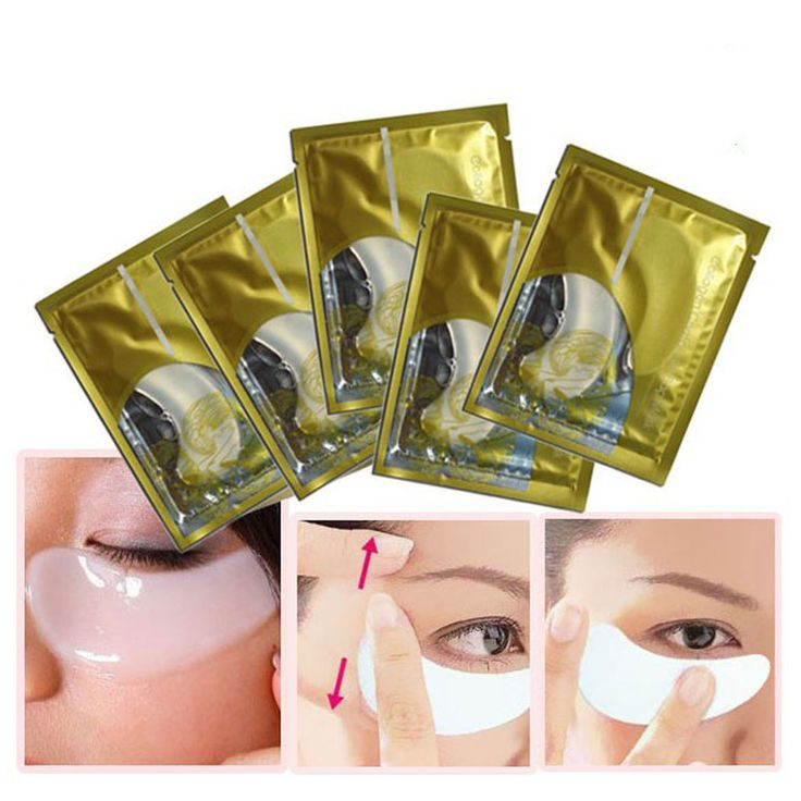 5pcs Crystal Collagen Remove Black Eye Dry Wrinkle Eye Mask Reduce Puffiness Dark Circles Shadows Uneven Skin Tones Eye Mask