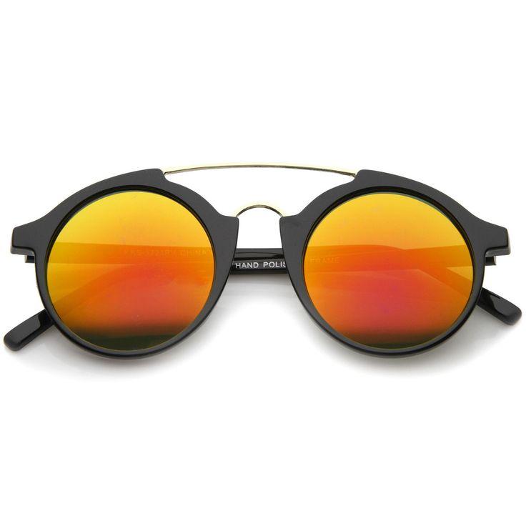 Modern Metal Brow Bar Iridescent Colored Mirror Round Sunglasses 46mm  #sunglass #frame #sunglasses #purple #oversized #womens #cateye #bold #clear #sunglassla
