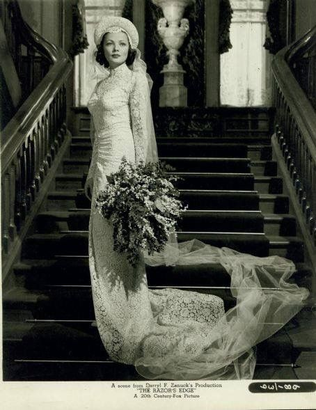 "The Razor's Edge 1946: ""The wedding dress Oleg Cassini designed for Gene Tierney and worn by her was actually designed for their wedding in 1941. It was never made since they eloped. After filming, Gene Tierney's stand-in Kay Adell Stork wore it at her own wedding."""