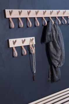 Garderobenleiste Holz/Leder Lang #hallwayideasstorage