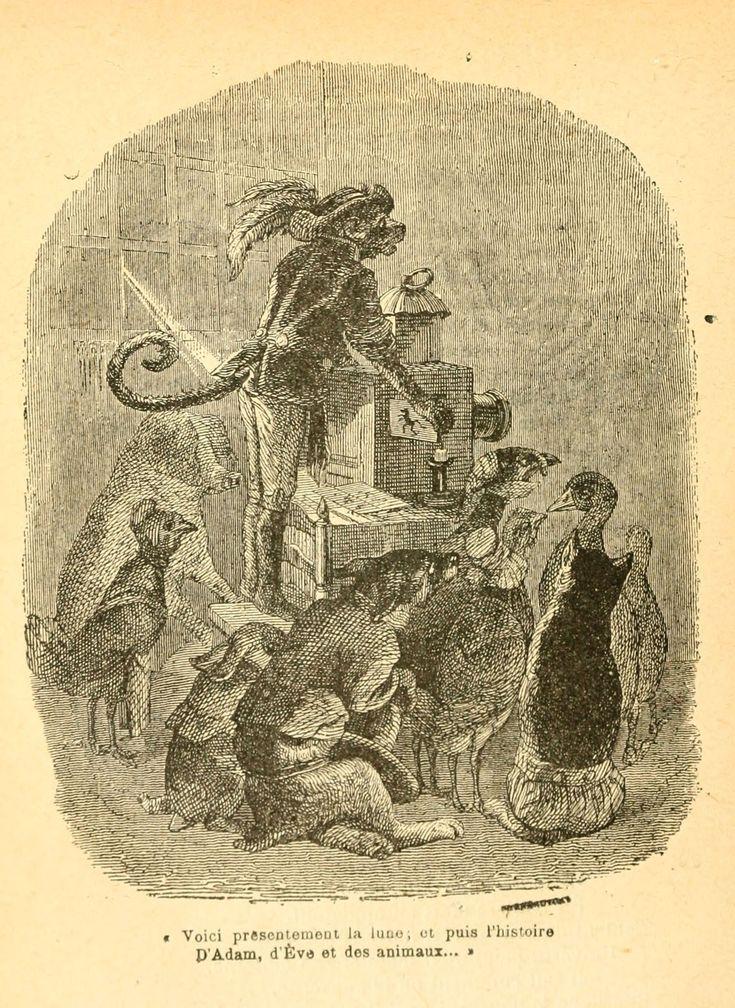 fables de Florian - Illustrations Fables de Florian 068 le singe qui montre la lanterne magique - Gravures, illustrations, dessins, images