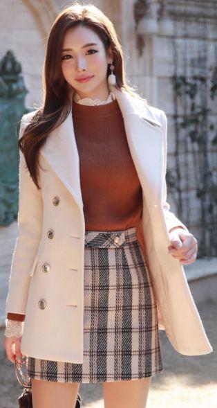 StyleOnme_Double-Breasted Gold Button Tailored Coat #ivory #coat #koreanfashion #kstyle #kfashion #feminine #wintertrend