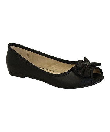 Look at this #zulilyfind! Black Bow Karina Open-Toe Flat by Heart #zulilyfinds