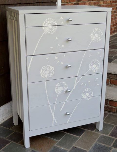 Adorable! We love how Vintage Revival Designers transformed this Ikea dresser using our Dandelion Stencil!  What stencil would you paint on a dresser? Get it here! http://www.cuttingedgestencils.com/dandelion-stencil.html  #cuttingedgestencils #stencils #stenciling #diy #paintedfurniture
