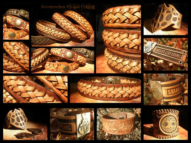 Handmade leather bracelets, made by Jeweleeches Vivian Hebing! You can find me on facebook or Etsy too!