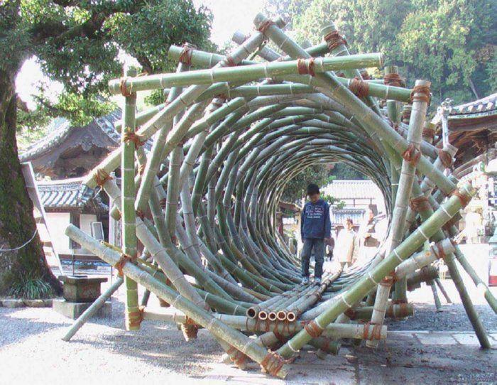 Bamboo Fibonacci Tunnel by Akio Hizume www.starcage.org