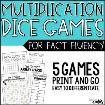 This bundle includes 5 of my students' favorite multiplication games. Each game is engaging, can be differentiated and increases multiplication fluency. Games can be played with partners or individually and are easily incorporated into stations or math workshop.