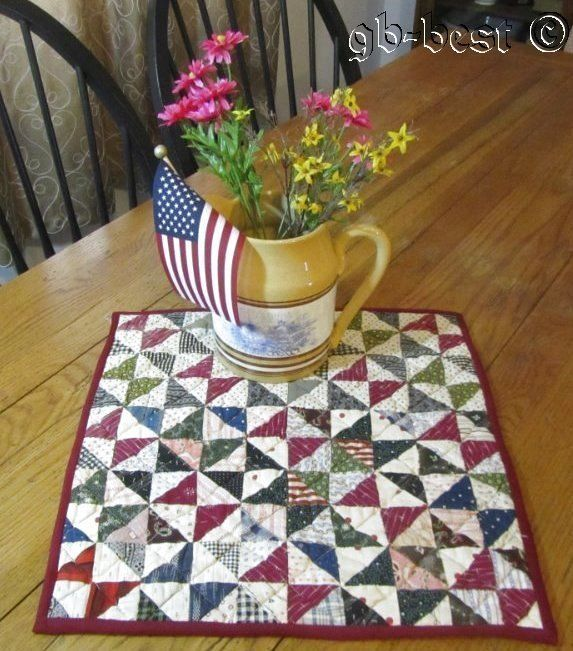"""Americana 1890s Broken Dishes Antique DOLL Table QUILT Indigo Blue Red 16 x 16"""""""